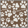 Personalized Name Ped Dog Paw Print Brown Pattern Fabric