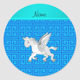 Personalized name pegasus blue greek key classic round sticker
