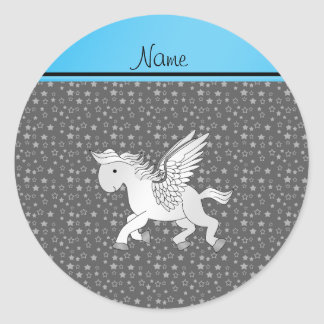 Personalized name pegasus gray stars classic round sticker