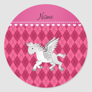 Personalized name pegasus pink argyle classic round sticker