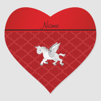 Personalized name pegasus red moroccan heart sticker