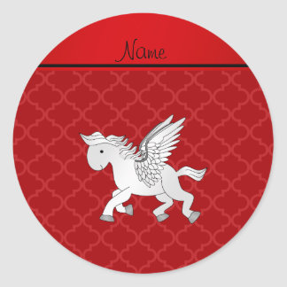 Personalized name pegasus red moroccan classic round sticker