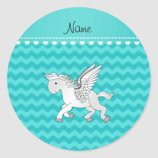 Personalized name pegasus turquoise chevrons classic round sticker