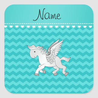 Personalized name pegasus turquoise chevrons square sticker
