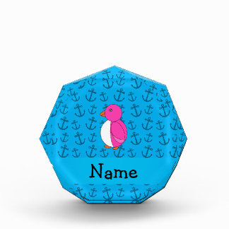 Personalized name penguin blue anchors pattern award