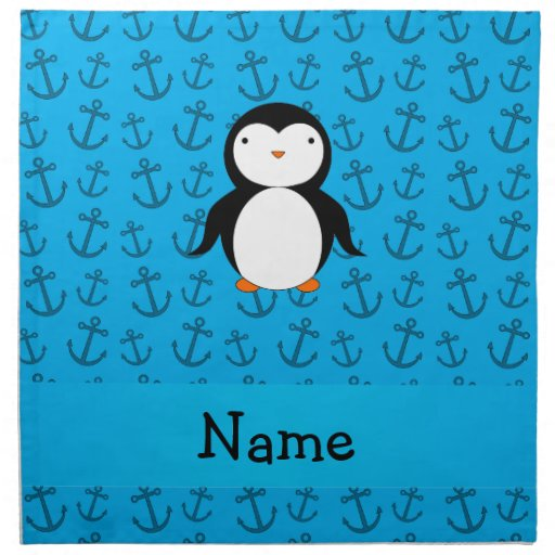 Personalized name penguin blue anchors pattern printed napkins