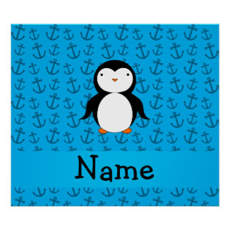 Personalized name penguin blue anchors pattern poster
