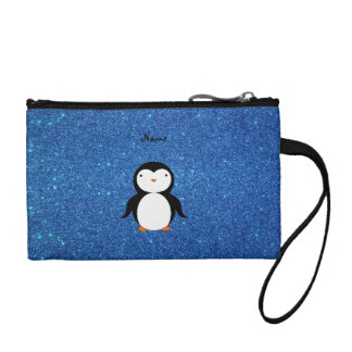 Personalized name penguin blue glitter coin purses