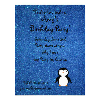 Personalized name penguin blue glitter personalized invitations