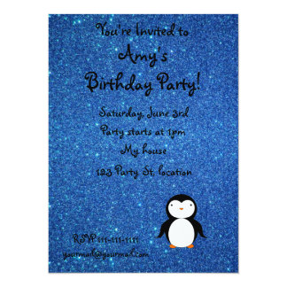 Personalized name penguin blue glitter announcement