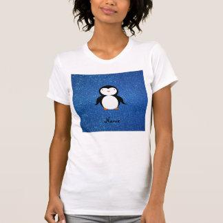 Personalized name penguin blue glitter t-shirt
