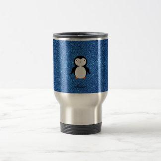 Personalized name penguin blue glitter travel mug