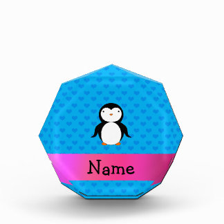 Personalized name penguin blue hearts award