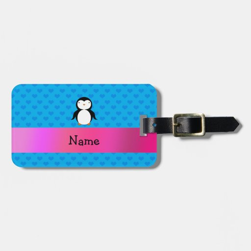 Personalized name penguin blue hearts travel bag tags