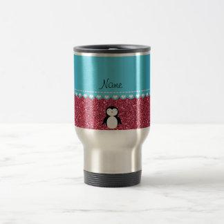 Personalized name penguin fuchsia pink glitter travel mug