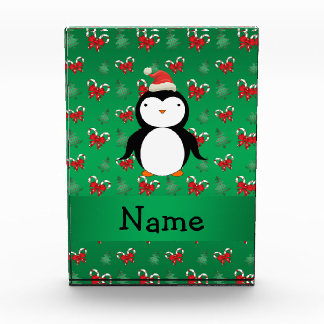 Personalized name penguin green candy canes bows award
