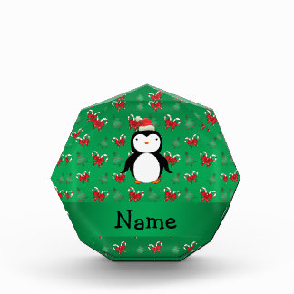 Personalized name penguin green candy canes bows awards