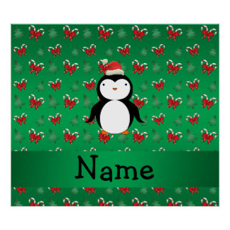 Personalized name penguin green candy canes bows posters