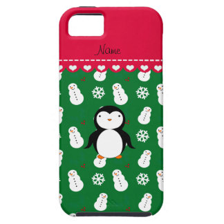 Personalized name penguin green snowmen snowflakes iPhone 5/5S cover