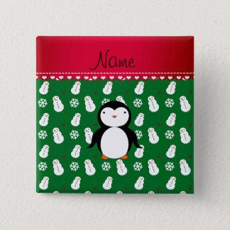Personalized name penguin green snowmen snowflakes pinback button