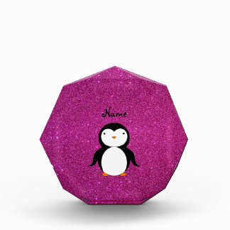 Personalized name penguin pink glitter award