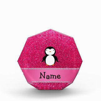 Personalized name penguin pink glitter awards