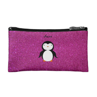 Personalized name penguin pink glitter makeup bags