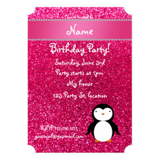 Personalized name penguin pink glitter card
