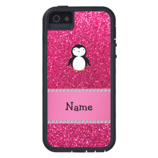 Personalized name penguin pink glitter case for iPhone SE/5/5s