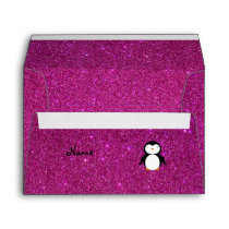 Personalized name penguin pink glitter envelope