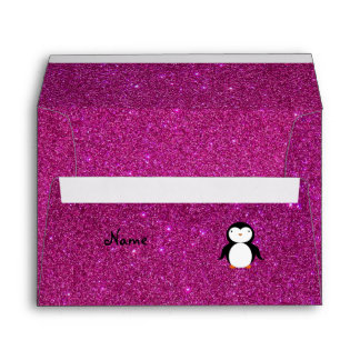 Personalized name penguin pink glitter envelopes