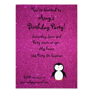 Personalized name penguin pink glitter personalized invitation
