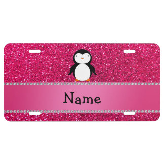 Personalized name penguin pink glitter license plate