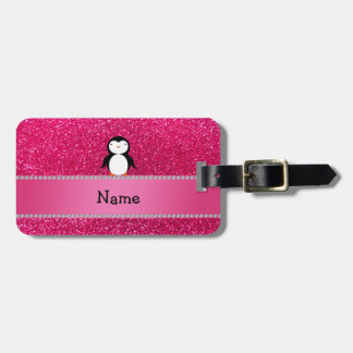 Personalized name penguin pink glitter travel bag tags