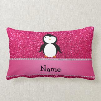 Personalized name penguin pink glitter lumbar pillow