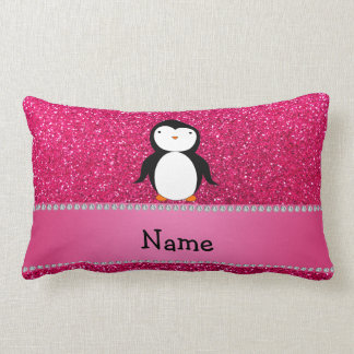 Personalized name penguin pink glitter pillows