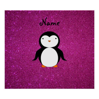 Personalized name penguin pink glitter print