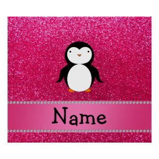 Personalized name penguin pink glitter poster
