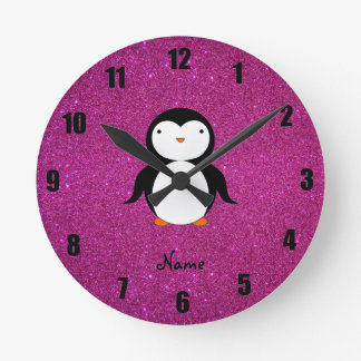 Personalized name penguin pink glitter round clock