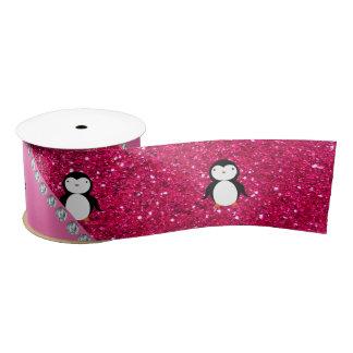 Personalized name penguin pink glitter satin ribbon