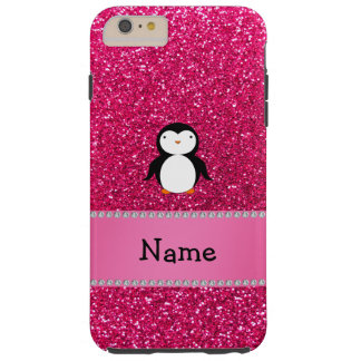 Personalized name penguin pink glitter tough iPhone 6 plus case