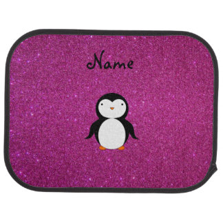 Personalized name penguin pink glitter car mat