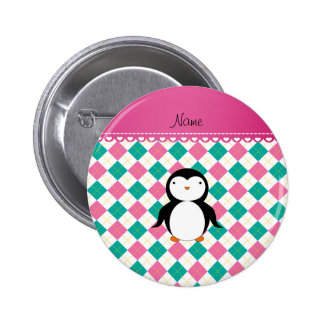 Personalized name penguin pink green argyle 2 inch round button