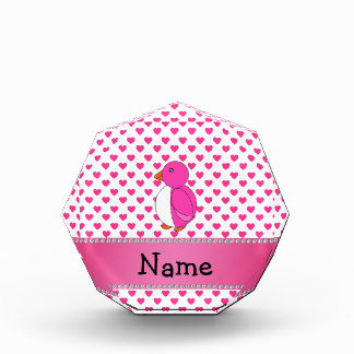 Personalized name penguin pink hearts polka dots awards