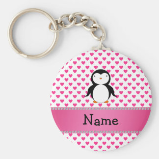 Personalized name penguin pink hearts polka dots keychain