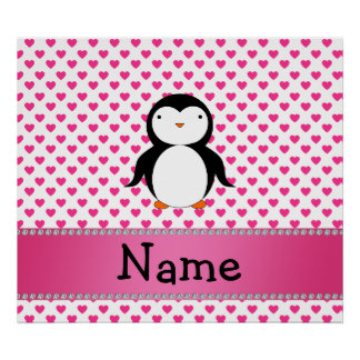 Personalized name penguin pink hearts polka dots poster