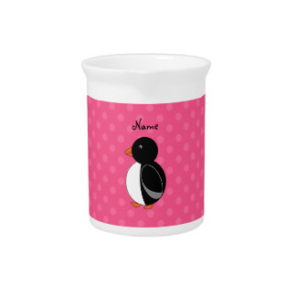 Personalized name penguin pink polka dots pitcher