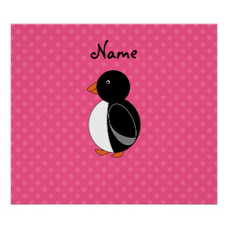 Personalized name penguin pink polka dots print