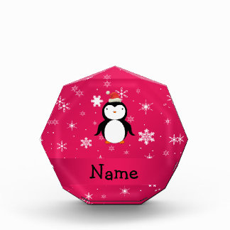 Personalized name penguin pink snowflakes award