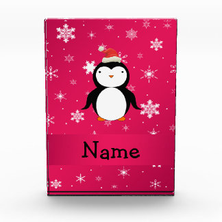 Personalized name penguin pink snowflakes acrylic award